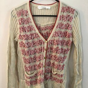 Anthropologie Sparrow : Cream and Red Cardigan